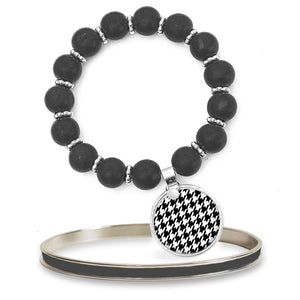 Houndstooth Beaded Bracelet Set
