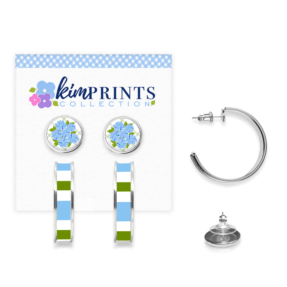 Sconset Hydrangea Blue Earring Set