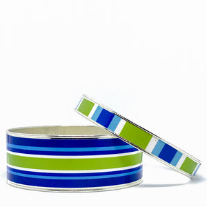 Classic Prep Stripe Blue Bangle Bracelet Set