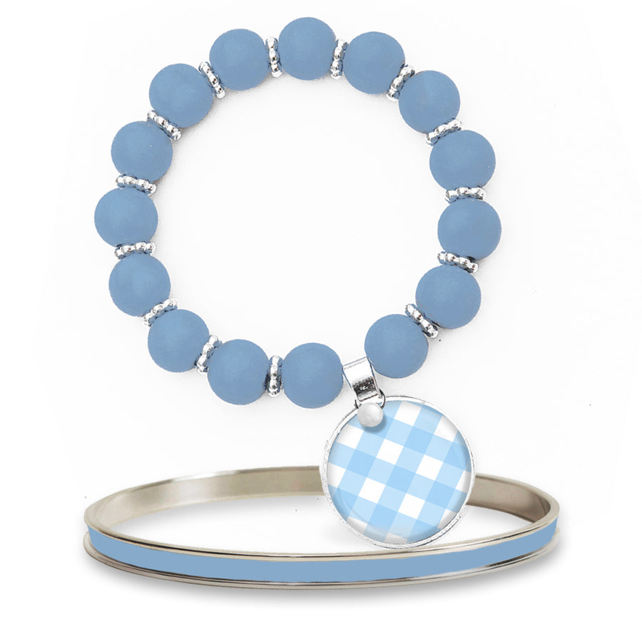 Gingham Blue Beaded Bracelet Set