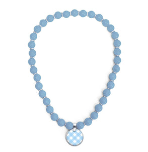 Gingham Blue Beaded Necklace