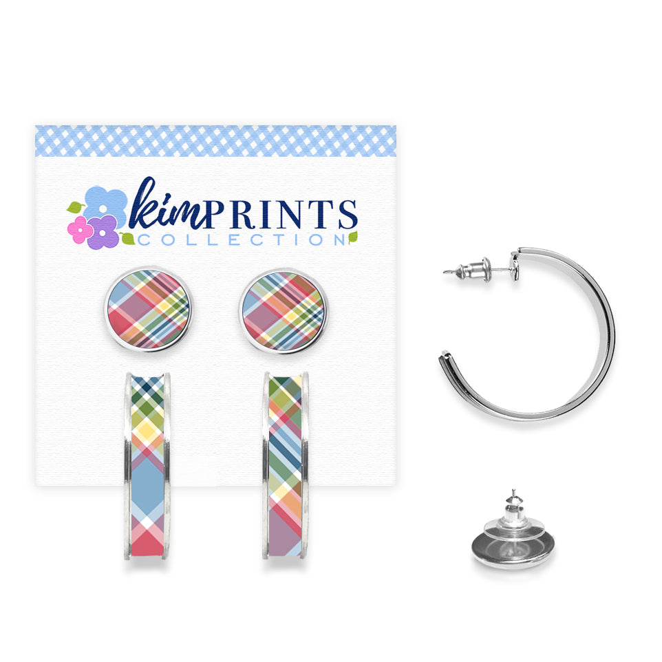 Madras Plaid Earring Set