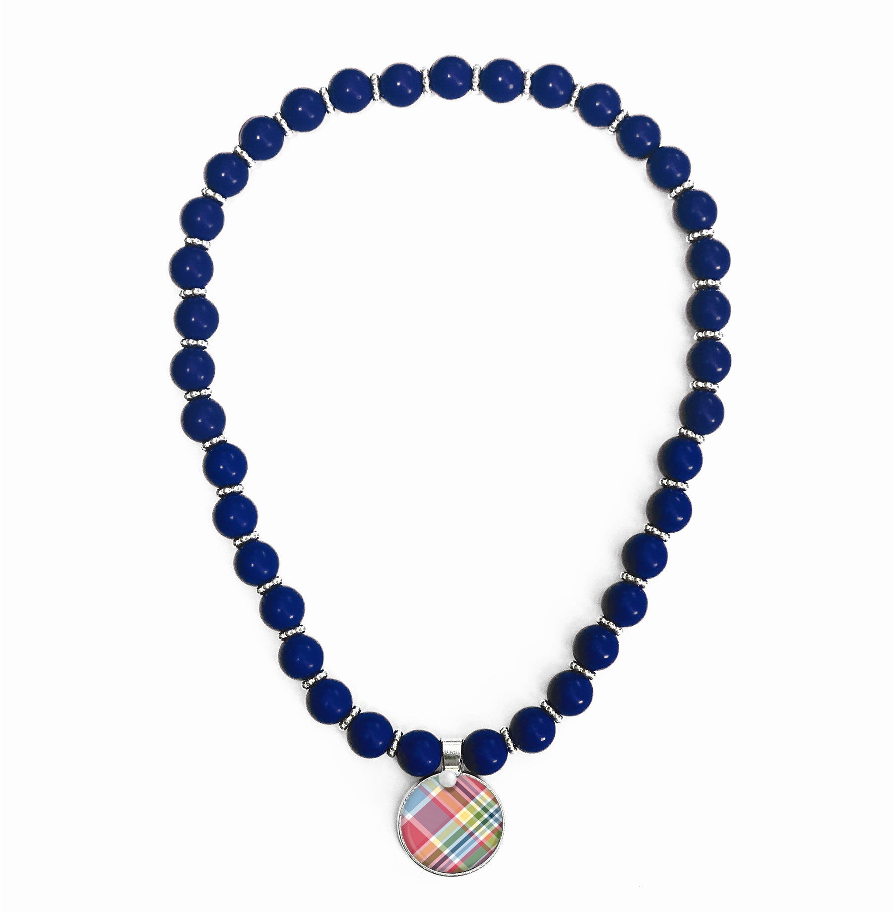 Madras Plaid Beaded Necklace