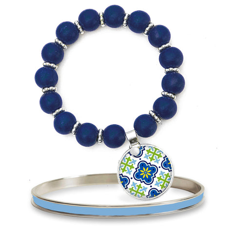 Moroccan Blue Beaded Bracelet Set