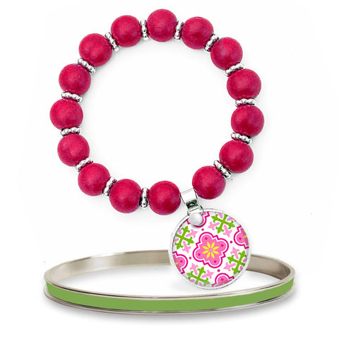 Moroccan Pink Beaded Bracelet Set