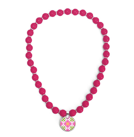 Moroccan Pink Beaded Necklace