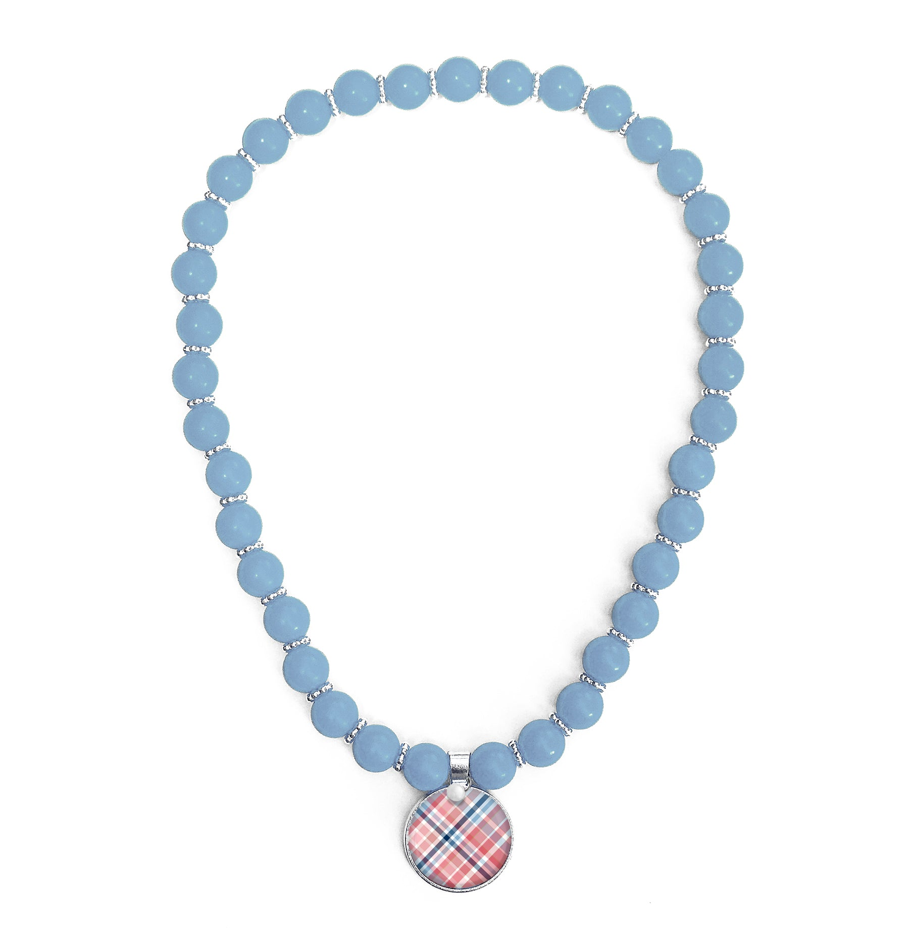 Madras Nantucket Plaid Beaded Necklace