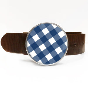 Navy Gingham Belt Buckle
