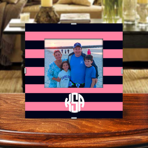 Monogram Photo Frame | Navy and Pink Rugby