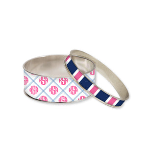 Brant Point Blue Monogram Bangle Bracelet Set