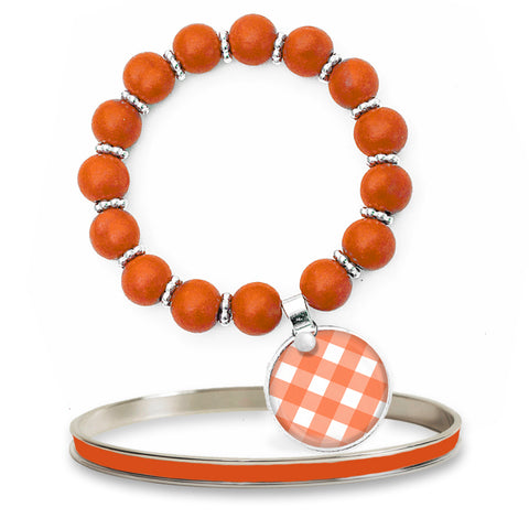 Gingham Orange Beaded Bracelet Set