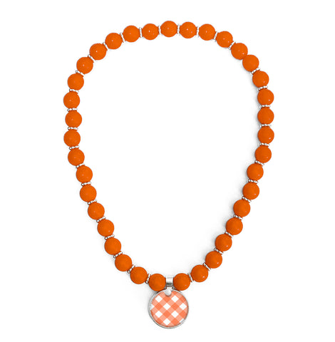Gingham Orange Beaded Necklace