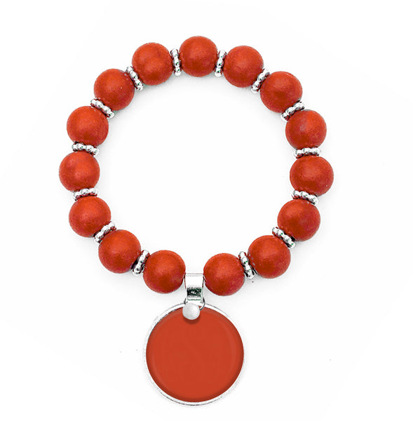 Beaded Monogram Bracelet - Orange