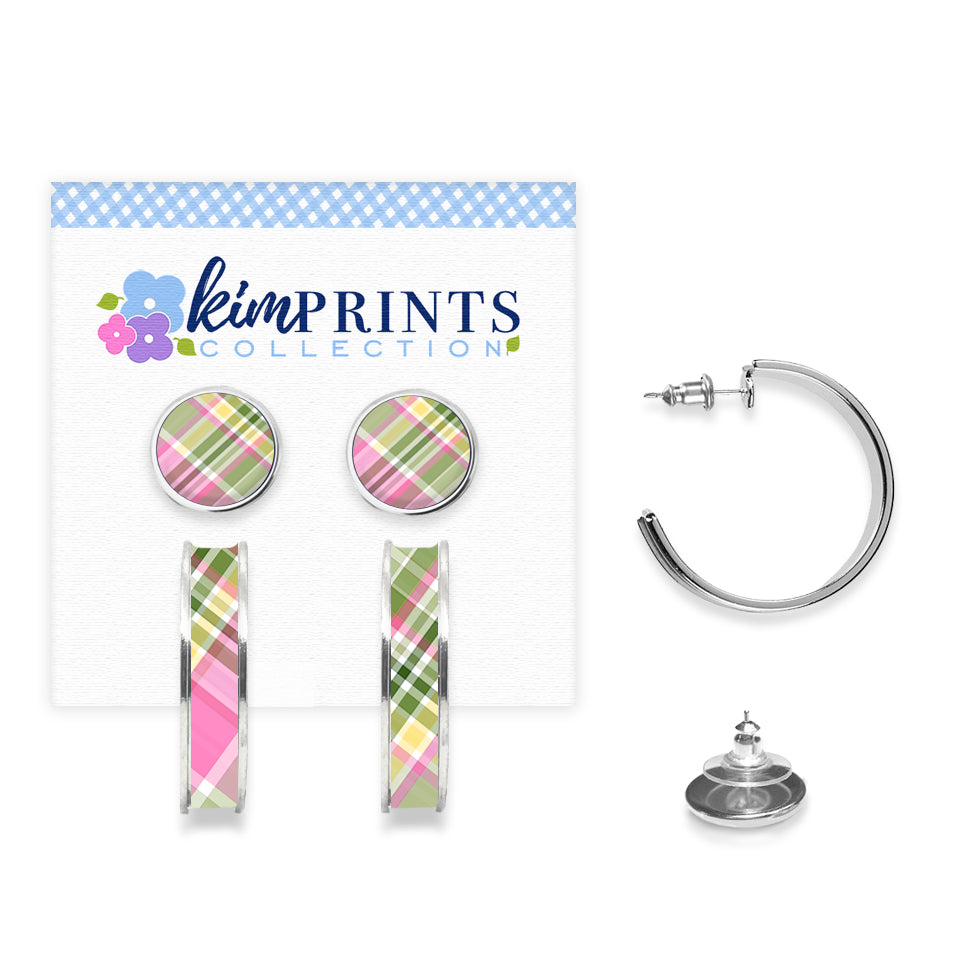 Madras Pink Earring Set