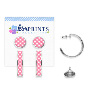 Gingham Style Pink Earring Set