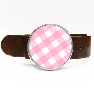 Pink Gingham Belt Buckle