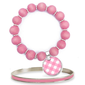Gingham Pink Beaded Bracelet Set