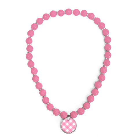 Gingham Pink Beaded Necklace