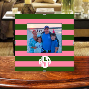 Monogram Photo Frame | Pink and Green Rugby
