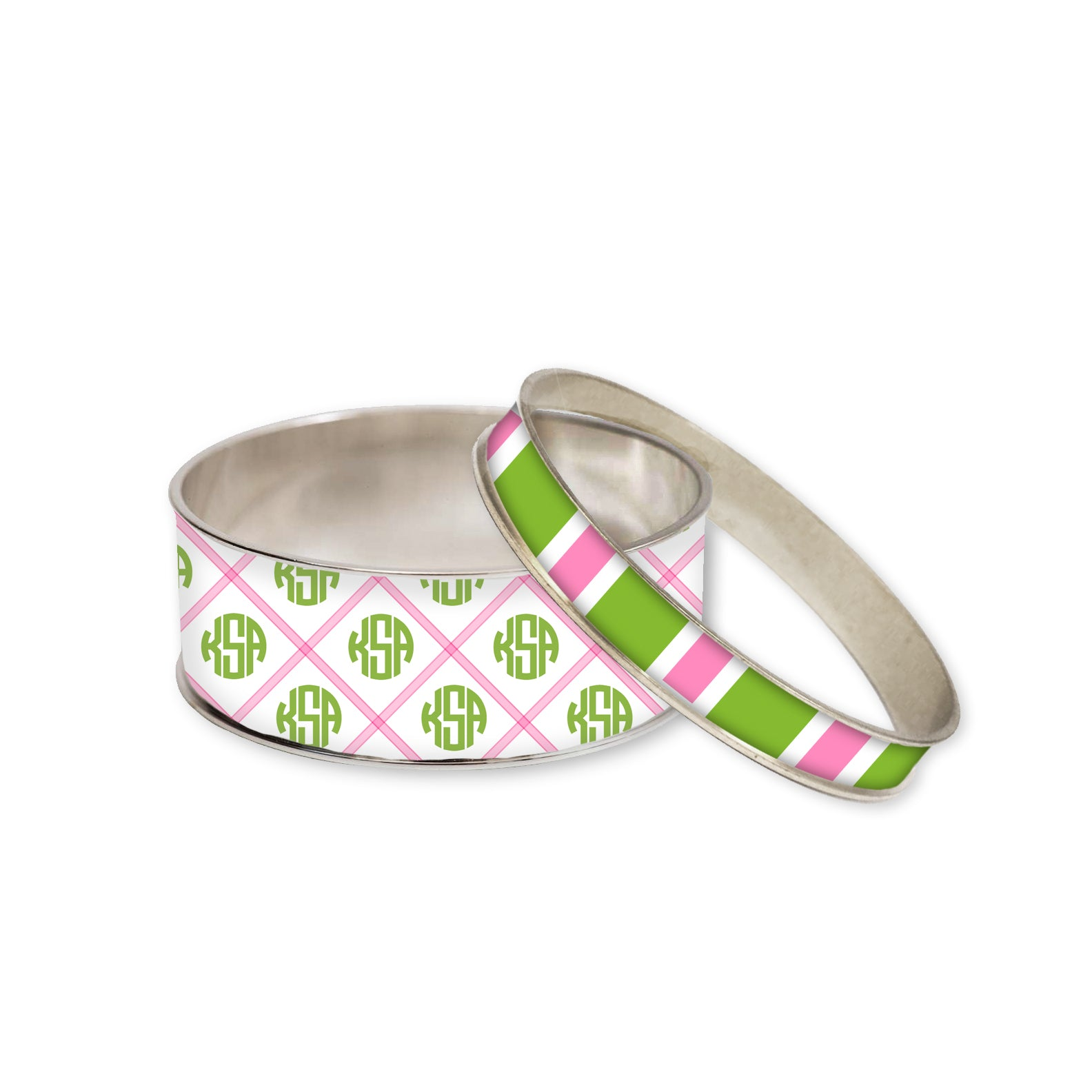 Edgartown Pink Monogram Bangle Bracelet Set