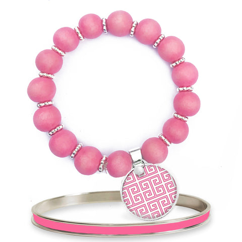 Greek Key Pink Beaded Bracelet Set