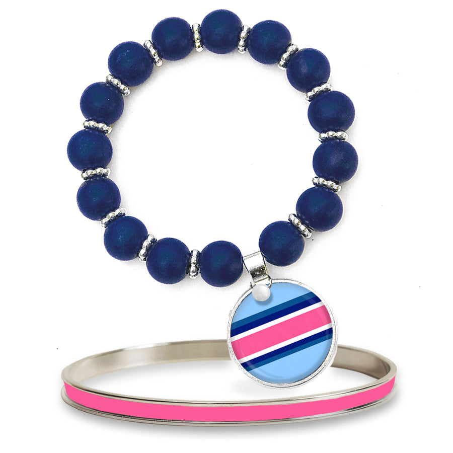 Classic Prep Stripe Pink Beaded Bracelet Set