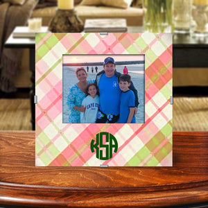Monogram Photo Frame | Pink Plaid