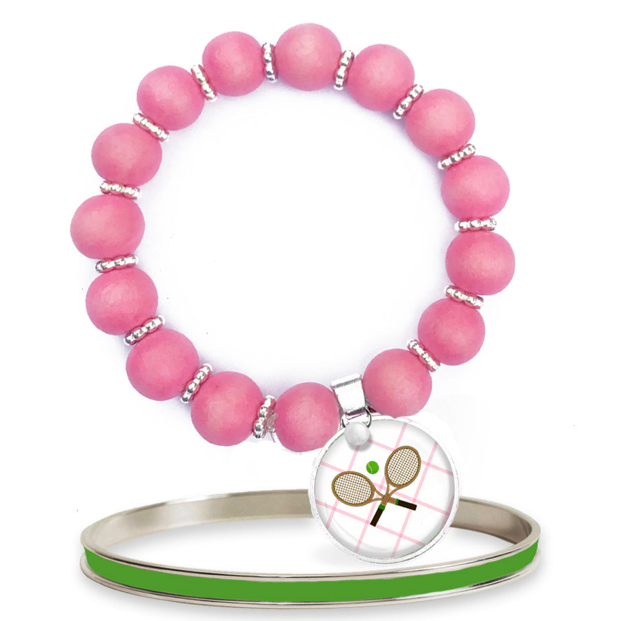 Tennis Anyone Pink Beaded Bracelet Set