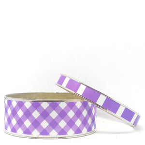 Gingham Amethyst Bangle Bracelet Set