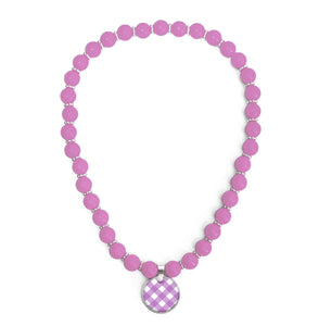 Gingham Amethyst Beaded Necklace