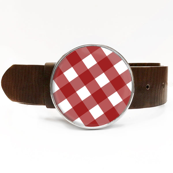 Red Gingham Belt Buckle