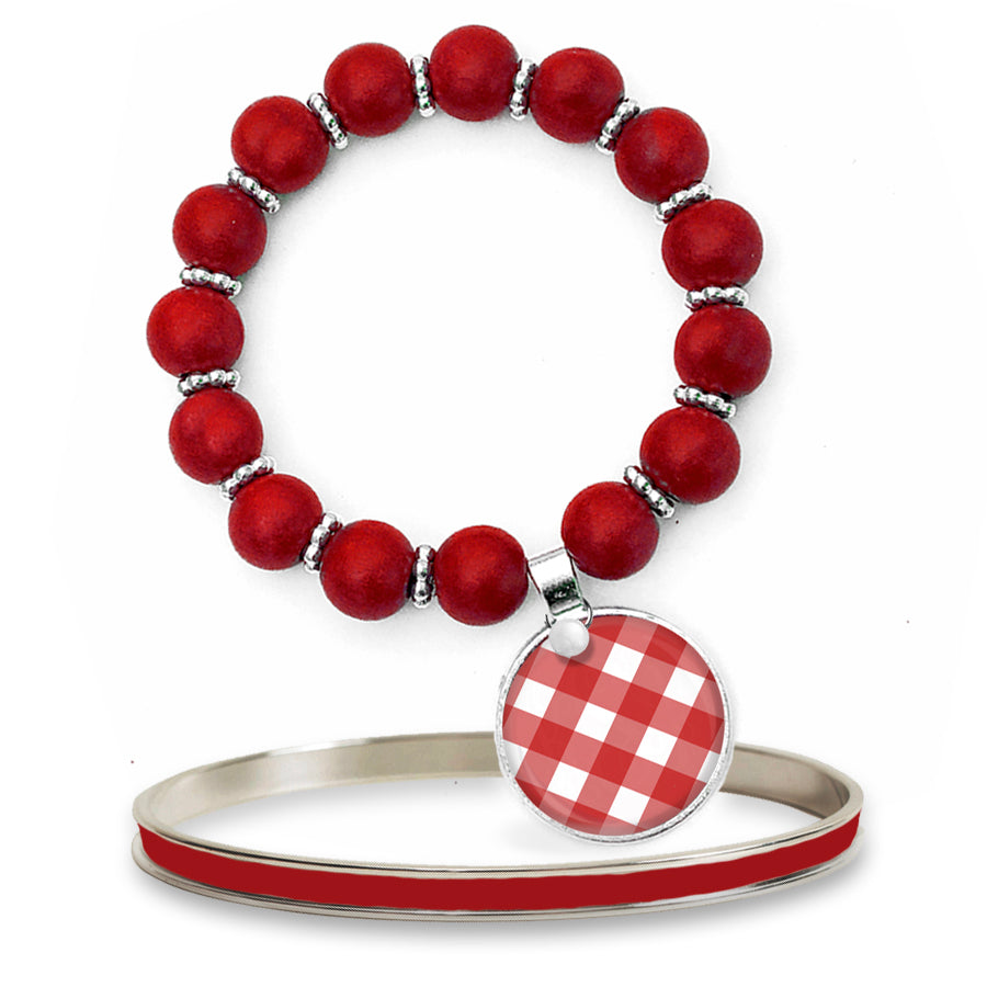 Gingham Red Beaded Bracelet Set