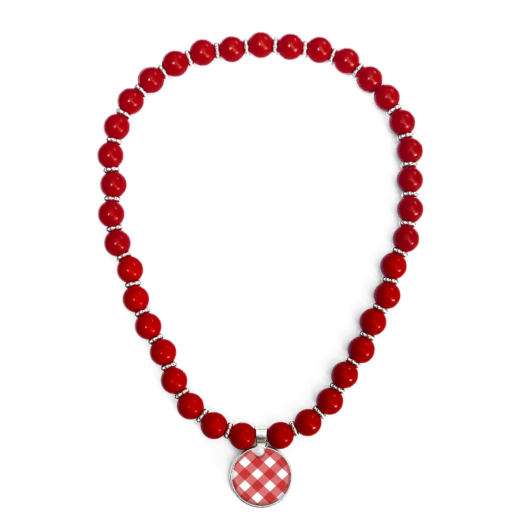 Gingham Red Beaded Necklace