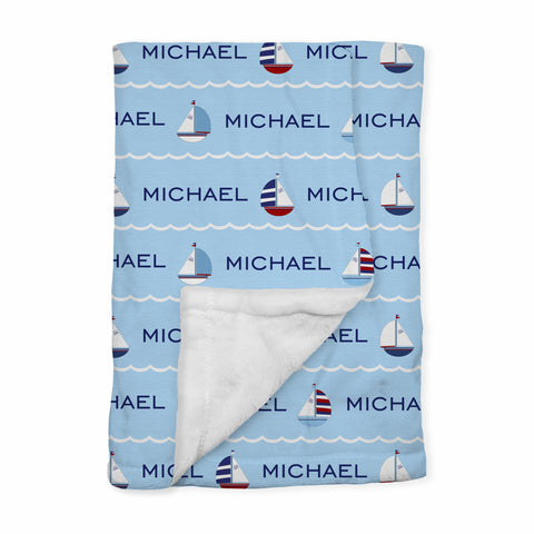 Personalized Baby Blanket | Regatta Blue