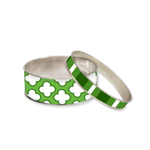 Signature Petal Green Bangle Bracelet Set