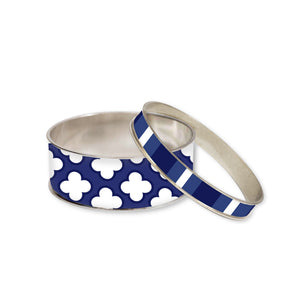 Signature Petal Navy Bangle Bracelet Set