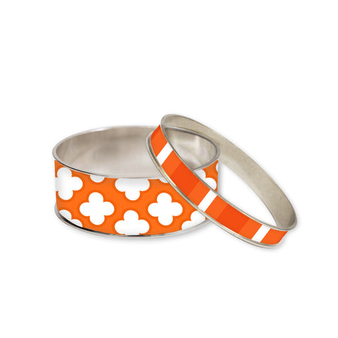 Signature Petal Orange Bangle Bracelet Set
