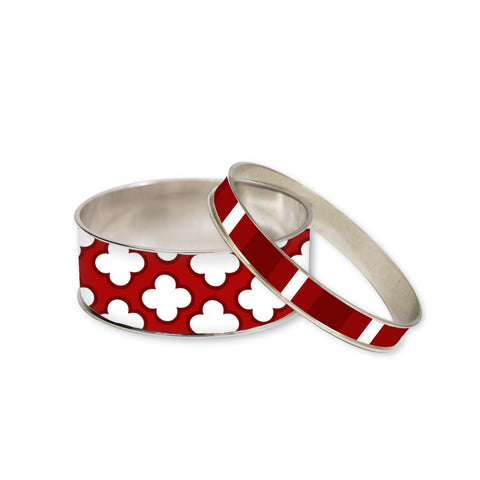 Signature Petal Red Bangle Bracelet Set