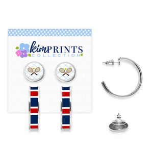 Tennis Anyone Blue Earring Set