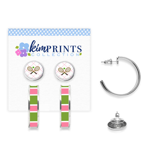 Tennis Anyone Pink Earring Set