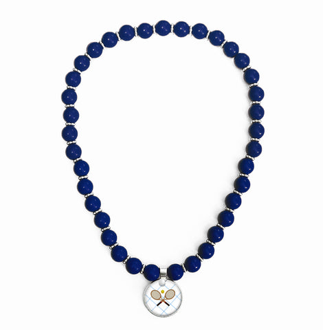 Tennis Anyone Blue Beaded Necklace