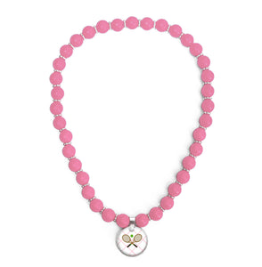 Tennis Anyone Pink Beaded Necklace