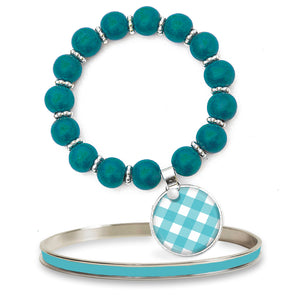 Gingham Turquoise Beaded Bracelet Set