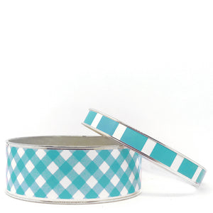 Gingham Turquoise Bangle Bracelet Set