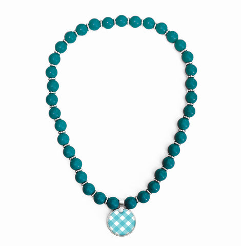 Gingham Turquoise Beaded Necklace