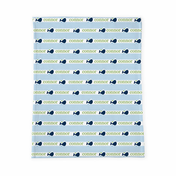 Personalized Baby Blanket | Whales Tale Blue