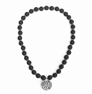 Zebra Beaded Necklace