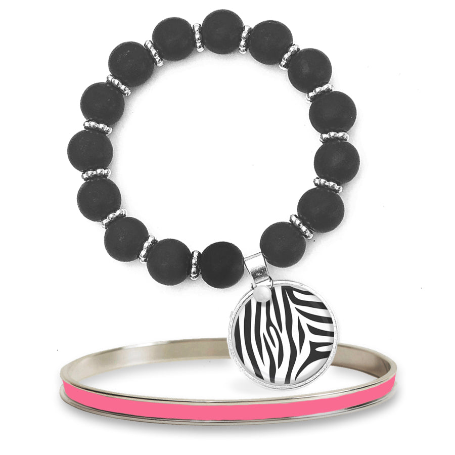 Zebra Beaded Bracelet Set