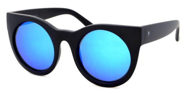 Nitti Round Sunglasses<br>Matt Black & Blue Mirror Lens