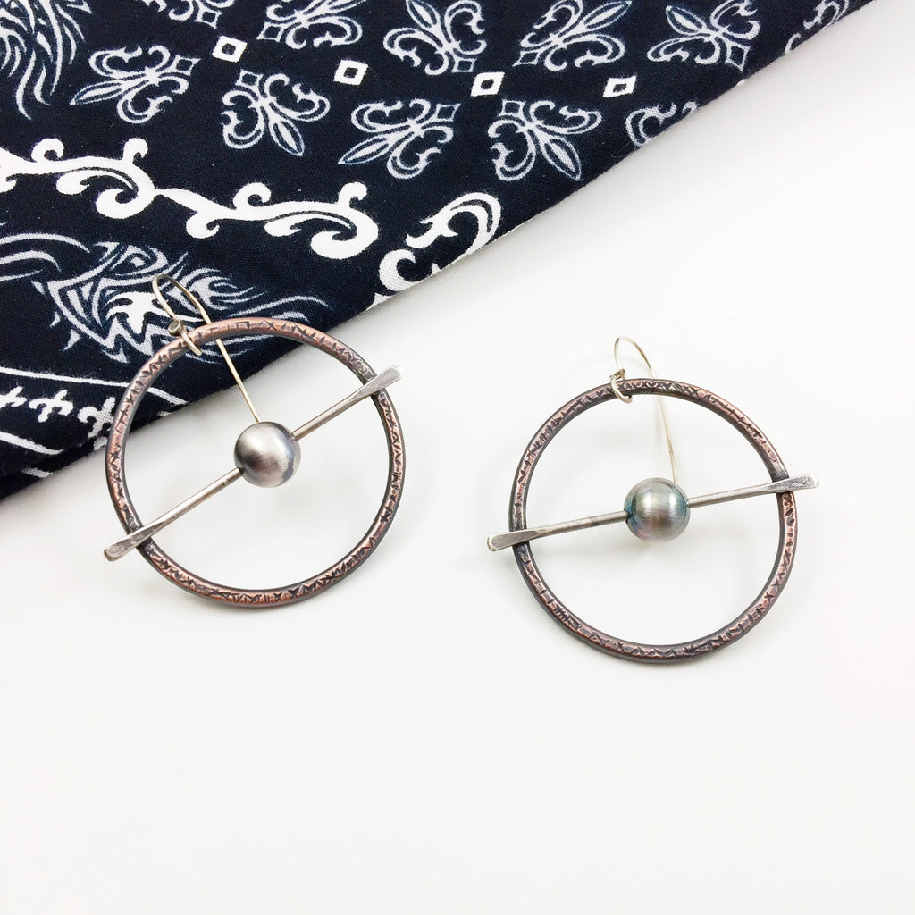 mixed metal edgy vibe biker hoop earrings